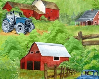 Green Mountain Farm Quilt Fabric High Quality Cotton Tractor Barn Farm