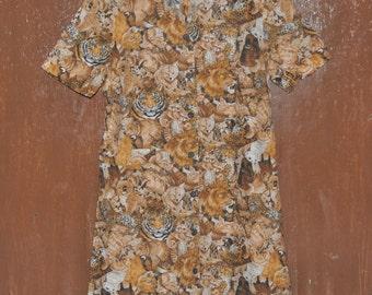 Vintage 80s LADIES FASHION Animal Print Dress Short Sleeve Wooden Button Women's Dress Shirt