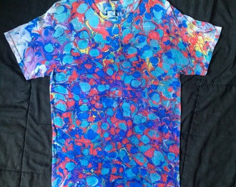 Shark Attack Marbled Psychedelic Shirt size Medium