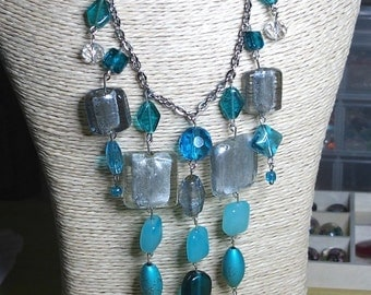 Necklace silver grey turquoise murano glass beads and clear fact long mi hand