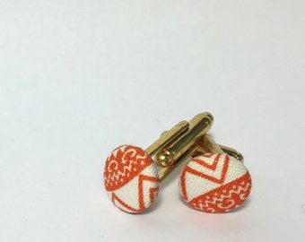 Orange and White Cufflinks