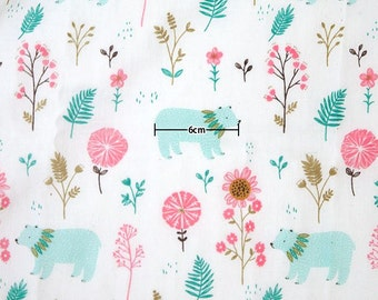 Bear and Flower Pattern Cotton Gauze Fabric by Yard -Mint