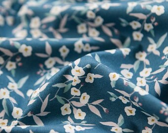Lovely Flower Pattern Blue Grey Cotton Fabric by Yard
