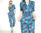 vintage 80s jumpsuit black floral print windbreaker swishy jumpsuit romper pants outfit clothing 1980s extra small XS S