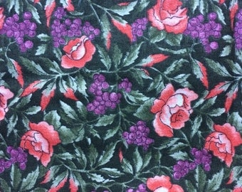 Fabric by the 1/4 Yard - Flowers and Grapes Cotton