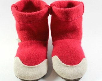 Hipster Toddler Gift- Red Toddler Slippers- Little Kids Slippers- Toddler Slipper Boots- Natural Baby Shoes