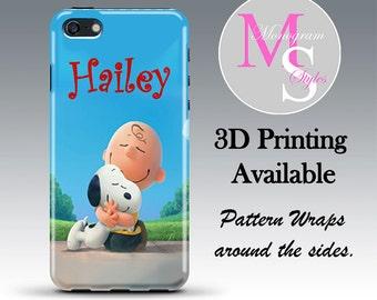 Monogram Personalized iPhone 6 Case Peanuts Monogrammed iPhone 4 Personalized Iphone 4S, Iphone 5C, iPhone 5S, iPhone 5 Tough Case #2628