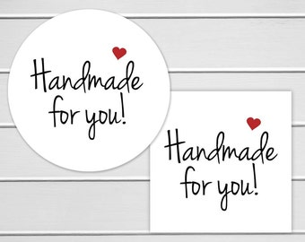 Handmade For You Labels, Handmade for You Stickers, Thank You Stickers, Printed Stickers (#148)
