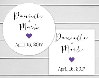 Wedding Stickers, Personalized Wedding Stickers, Name Wedding Stickers, Thank You Labels, Envelope Seals  (#197)