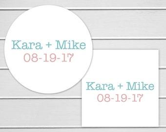 Names and Date Wedding Sticker, Custom Wedding Stickers, Wedding Stickers, Wedding labels (#164)