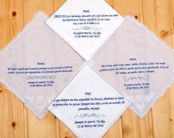 Set of 4 handkerchief! Personalized wedding handkerchief set for parents. Handkerchief in spanish! international shipping