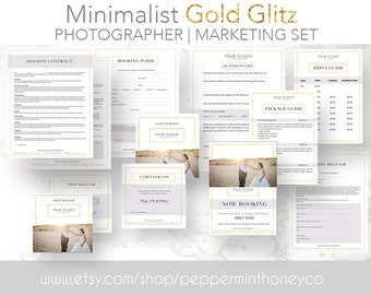 M2003 - GOLD GLITZ PHOTOGRAPHY Marketing Set Template, Branding Kit, Photographers, Contract, Booking, Model, Release, Print, Questionnaire