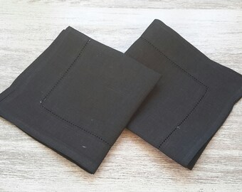 LINEN Napkins - SOLID BLACK napkins - black linen Napkin, Table napkin, table linen, wedding napkins, dinner napkins, cloth napkins