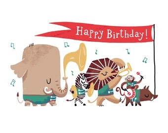 Happy Birthday Postcard Animal Parade - illustration of jungle animals playing musical instruments. Lion, Zebra, Elephant, monkey, boar