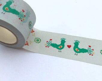 Washi Tape/masking tape 3x10mt peacocks