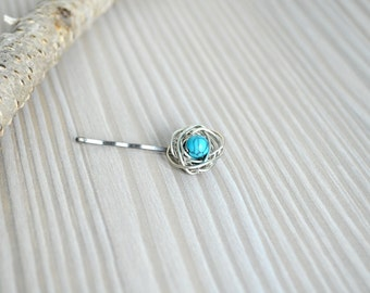 Silver and Turquoise Birds Nest Hair Pin - Handmade One of a Kind