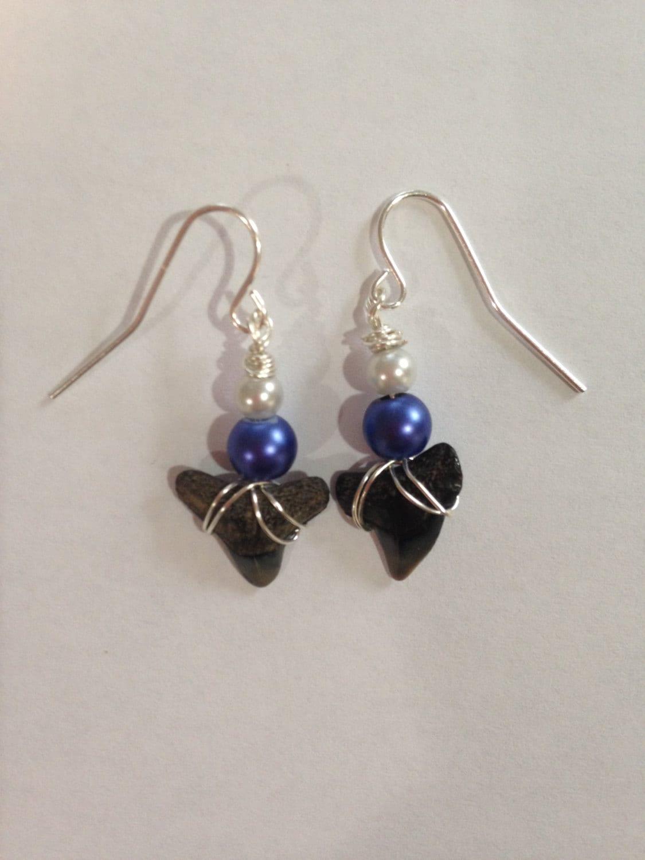 shark tooth earrings blue earrings pearl earrings dangle