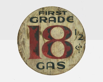 first grade 18 cent gas station sign, 1950's hand painted gas station sign, original gas sign, original gas station price sign, 18 cent sign