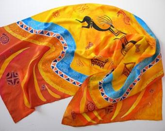 Handpainted silk shawl Batik Birthday gift for mom Silk scarf Hand painted silk African motifs  Women's scarves Orange scarf Summer scarf