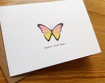 PEACH BUTTERFLY Birthday Card