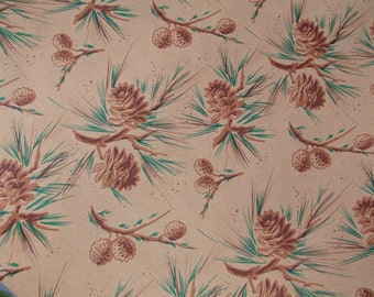 4 Yards Pine Branches Pinecone Brown Wrapping Paper Vintage 1940's 50's Christmas Gift Wrap
