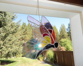 Cute multicolored stained glass butterfly