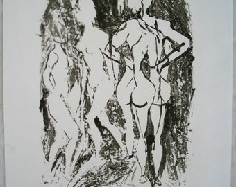 Printmaking on life drawing. A2 paper