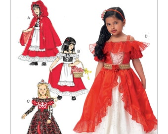 McCall's Pattern M7454 Children's/Girls' Dress-Up Costumes with Attached Petticoat and Cape