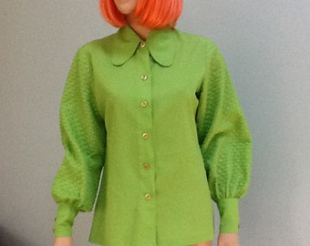 70's 80's Shirt, Puff Sleeves with a Round Collar ~ Size 14