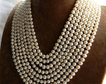 Awesome 8 Strand A Grade 7-8mm Freshwater White Pearl Necklace w Sterling Silver Clasp