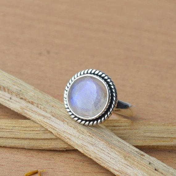 Misty Rainbow Moonstone Gemstone Ring, 925 Sterling Silver Designer Ring, Bezel Set June Birthstone Gift Ring, Blue Stone Gift Ring