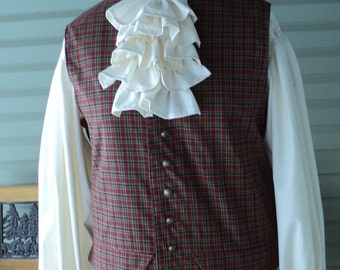 Men's/unisex Colonial/Revolutionary War Cotton Muslin accessories/ sold as  separates-Ruffled Jabot or detachable cuffs,-MADE-TO-ORDER
