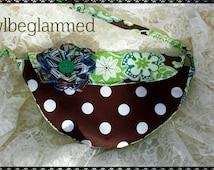 Ladies/kids purse! Green/brown floral print, Ribbon flower, crescent  shape, Super cute!!