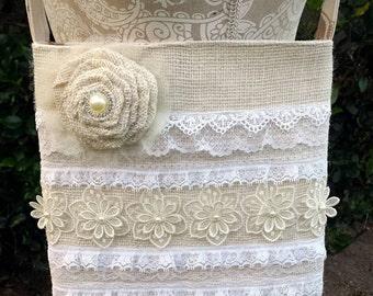 Burlap lace ruffle crossbody bag with shabby pearl rose! Ladies burlap crossbody, beautiful!!