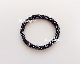 Nepal Handmade Beaded Roll On Bracelet Gift Birthday Silver Black