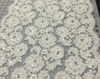 5 1/2 Yards of French Re-embroidered Alencon Lace with Pearls and AB Sequins. Made in France. Lace, Alencon Lace, 18 Inches wide.