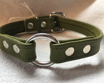 Green Leather O-Ring Choker Style Collar