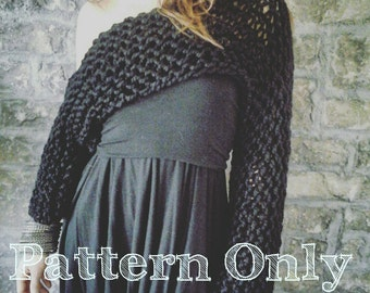 Off-the-Shoulder Shrug Pattern - Knitted shrug pattern, knit crop top, airy knitted shrug, bulky knit, sweater, knitted shrug, easy knit