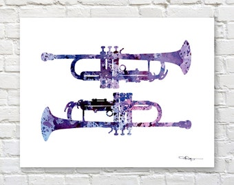 Trumpet Art Print - Abstract Watercolor Painting - Jazz Wall Decor