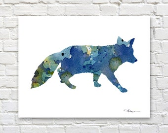Blue Fox Art Print - Abstract Watercolor Painting - Animal Art - Wall Decor
