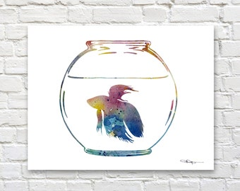 Betta Fish Art Print - Abstract Watercolor Painting - Wall Decor
