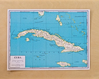 1944 - Cuba Map - Vintage WWII Era Map of Cuba - Antique Map Old Atlas Map Page