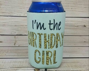 im the birthday girl mint and gold glitter can coolers / 21st birthday party favors / milestone birthday favors / girls birthday party