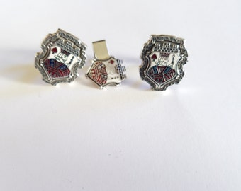 Vintage Hickok Jack of Spades Cuff Links and Tie Clip in Rugged Gray Metal