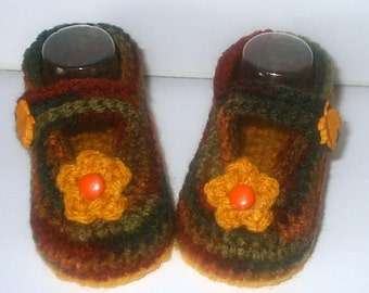 Cute Crochet *Autumn Flowers & Leaves Mary Janes* 4 Baby Girl. 3-9 mos - Shoes, Booties, Fall