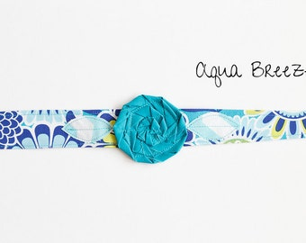 "Fabric Headband with Flower, Aqua flower headband, turquoise headwrap- ""Aqua Breeze"""