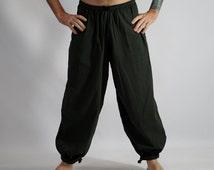 BAGGY PANTS ARMY Green - Steampunk, Medieval Renaissance Clothing, Viking Pants, Pirate Pants, Peasant Pant, Pirate Costume, Larp - Zootzu