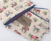 Large make up bag Cath Kidston pony design handmade and fully lined.