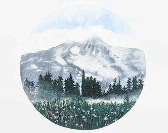 Mountain Print, Mountain Art, Mountain Painting, Landscape Painting, Landscape Print, Nature Print, Mountain Artwork, Boho Decor, Forest Art