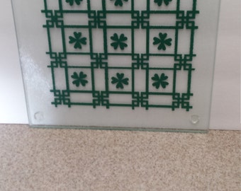 Square Glass Cutting Board with Green Checked Design